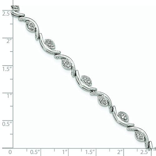 Or blanc 14 carats Diamant poli Bracelet vagues JewelryWeb