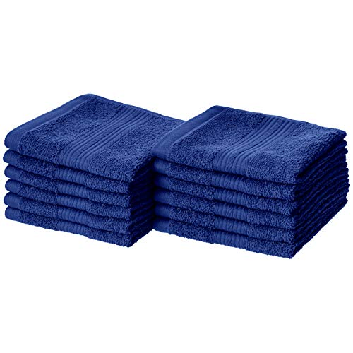 AmazonBasics Fade-Resistant Cotton Washcloths - Pack of 12, Navy Blue
