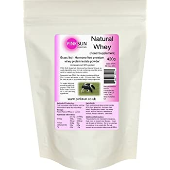 Grass Fed Hormone Free Whey Protein Isolate Powder 420g Unflavoured - PINK SUN Natural Whey by PINK SUN Ltd