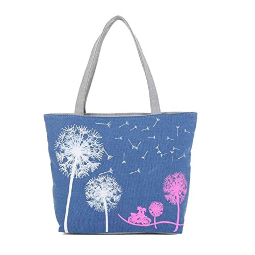 Handbags Bags Republe Print Floral Portable Bags Zipper Tote Shoulder Canvas Blue Dandelion Women PxrqnwgRP0