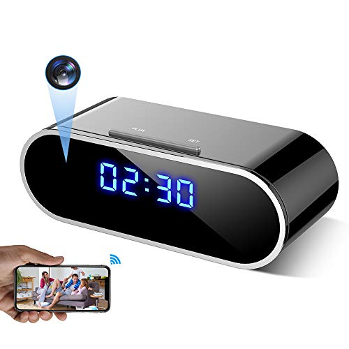 WEMLB WB-726 HD 1080 P WiFi Hidden Camera Alarm Clock Night Vision/Motion Detection/Loop Recording Wireless Security Camera for Home Surveillance - Spy Cameras
