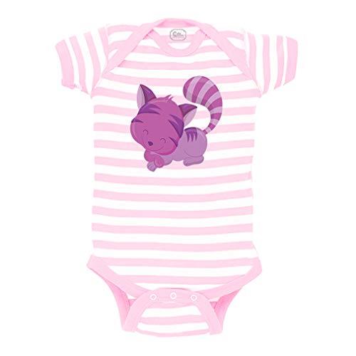 Baby Cheshire Cat (Cheshire Cat Short Sleeve Envelope Neck Boys-Girls Cotton Baby Fine Stripes Bodysuit - White Soft Pink, 6)