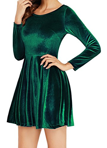 Annigo Velvet Dress for Women Long Sleeve Pleated New Years Eve Dress,Dark Green,Small by Annigo (Image #1)