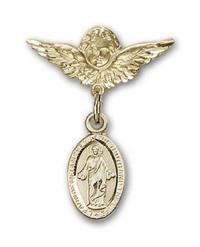 Icecarats Or Bijoux De Créateurs Scapulaire Rempli Charme Ange Pin Badge 7/8 X 3/4