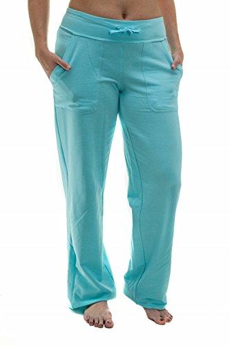 Women's Straight Leg Knit Lounge Pants With Pockets, Sky (Sky Lounge)