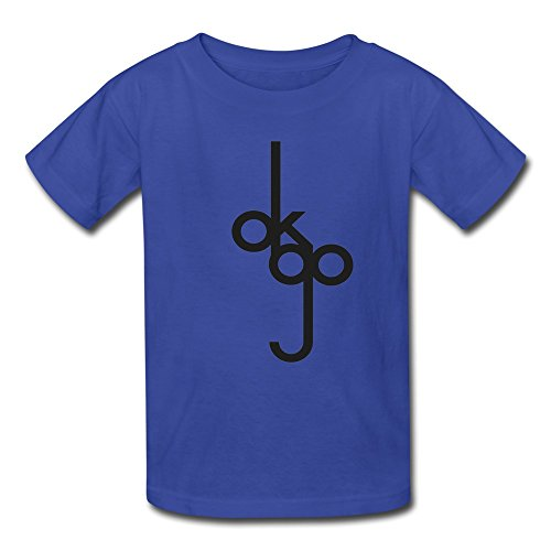GYKU Kid's Ok Go T-Shirt RoyalBlue US Size L,100% Organic Cotton -