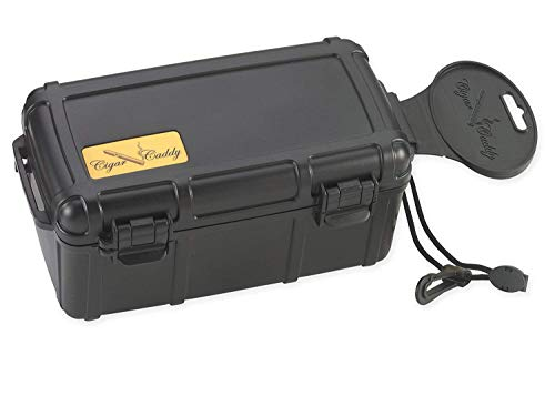 Cigar Caddy 3540 Waterproof Travel Cigar Humidor for 15 Cigars, with One Humidifier Disc Inside, Black Matte (Pack of 2.)
