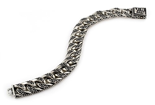 Twisted Blade 925 Sterling Silver Decorated Curb Link Bracelet 8'' by Buy For Less