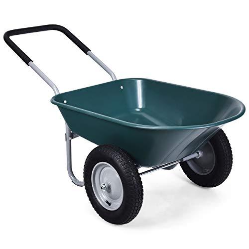 Goplus Dual Wheel Wheelbarrow
