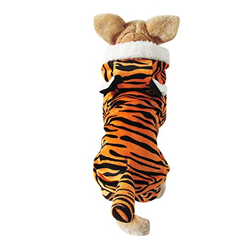 ICEGREY Dog Pet Hoodie Jumpsuit Clothes Coat Tiger Dog Puppy Costume Yellow (Tiger Costume For Dog)