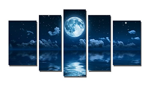 Yin Art 5-Panel Landscape Split Canvas Print Wall Art Set - Blue Seascape at Night with Full Moon Cloudy Starry Sky Over the Ocean Sea Water - Stretched and Framed -