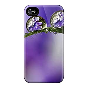New Premium Flip Case Cover Purple Drops Skin Case For Iphone 4/4s