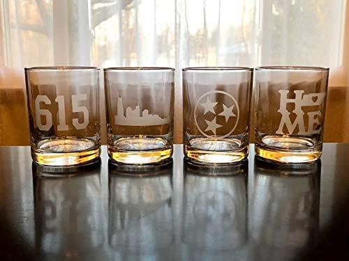 Nashville Rocks Glasses Gift Set- 4 Double Rocks Glasses - Nashville - Tennessee - Whiskey - Barware - Bourbon - honky Tonk ()