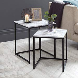 A2z Home Solutions Wonderful Feature Set Of 2 Marble Effect Nest Of Tables With Metal Frame Coffeeside Center Tables Living Room