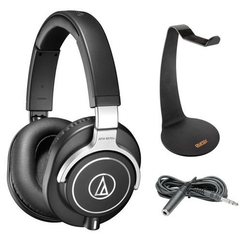 Audio-Technica ATH-M70x Pro Monitor Headphones with Headphone Stand & Extension Cable 10' by Audio-Technica