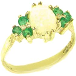 14k Yellow Gold Natural Opal and Emerald Womens Cluster Ring - Sizes 4 to 12 Available