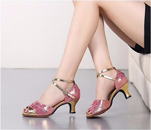 Sqiao-x-kraft Chaussures De Danse En Caoutchouc Fond Plat Boucle Fond Souple, Pour Les Adultes Danse Latine Square Dance Professional Chaussures De Danse, Or (3.5cm), 40