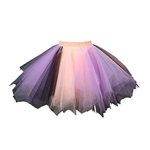 Honeystore Women's Tutu Petticoat Skirt Prom Evening Occasion Accessory Coral Lilac Black