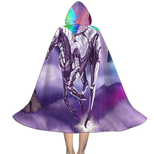 Halloween Costumes Rainbow Unicorn Hooded Witch Wizard Cloak for Kids S