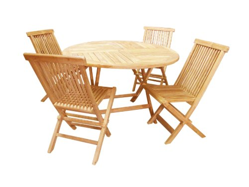 D-ART Teak Outdoor Crestwood Round Set (set of 1 Table, 4 ()