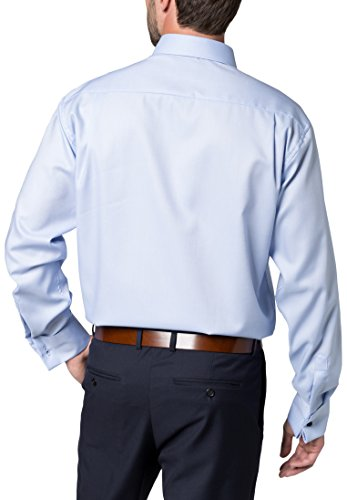 ETERNA long sleeve Shirt COMFORT FIT Natté structured azul claro