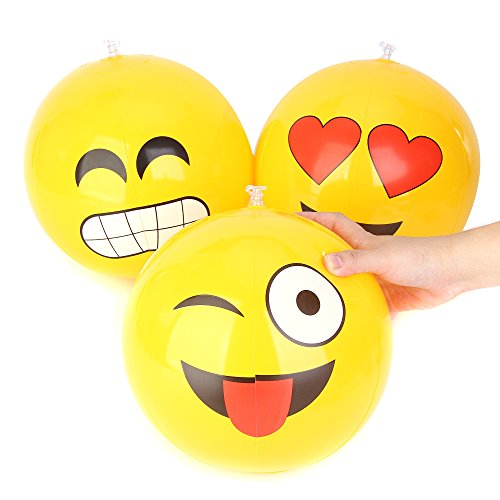 Ball Face Inflate (Fun Central AZ900 12 Pieces, 12 Inch Emoji Inflatable Beach Balls, Assorted Inflatable Beach Balls For Kids, Beach Balls Inflatable Bulk)