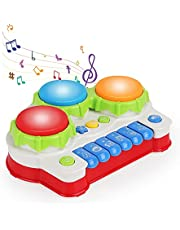 3 in 1 Baby Musical Learning Toys Electronic Piano Drum Set-Instrument Toys with Light for Baby & Toddler 18 Months and Up Old