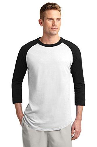 Sport-Tek Colorblock Raglan Jersey. - Medium - White/Black - Sport Tek