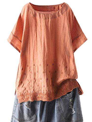 (Mordenmiss Women's Linen Embroidered Shirt Blouse Short Sleeve T-Shirt Tops Hi-Low Tunics(L,Orange))