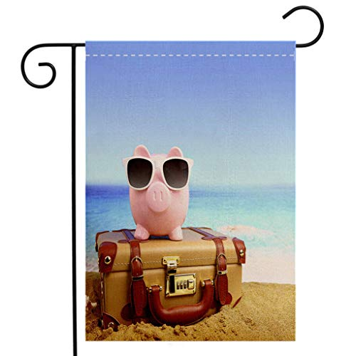 - BEIVIVI Custom Double Sided Seasonal Garden Flag Piggy Bank Wearing Sunglasses on Suitcase at Beach Garden Flag Waterproof for Party Holiday Home Garden Decor