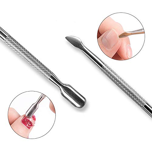 Euone  Nail Pusher, 2PC Cuticle Pusher UV Gel Polish Soak Off Remover Nail Art Manicure Trimmer Tool