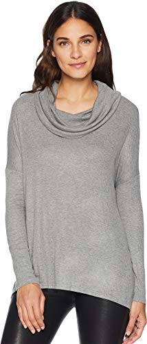 Jack by BB Dakota Junior's Early Riser Rib Knit Cowl Top with Boat Neck, Light Heather Grey, Large