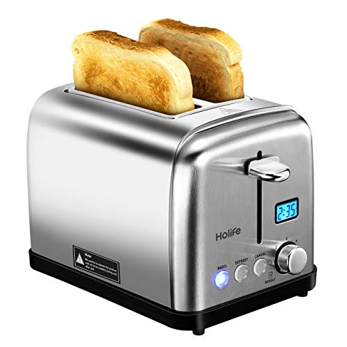 HoLife 2 Slice Toaster, Extra Wide Slot Metal Classic Stainless Steel Toaster with 6 Bread Shade Settings, Bagel/Defrost/Reheat/Cancel Function, Removable Crumb Tray, 900W, Silver