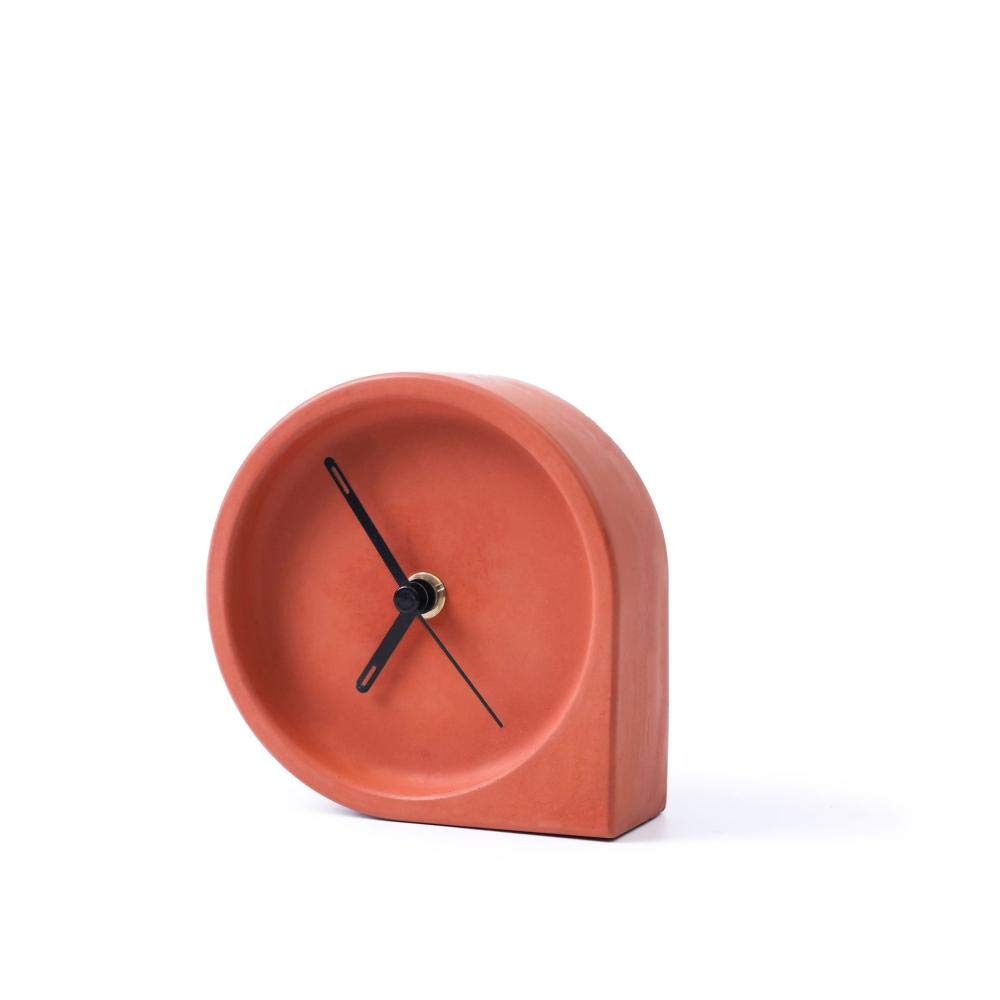 LFNZYH European Style Decoration Clear Concrete Table Mute Bedside Table Clock Creative Home Clock@Ink