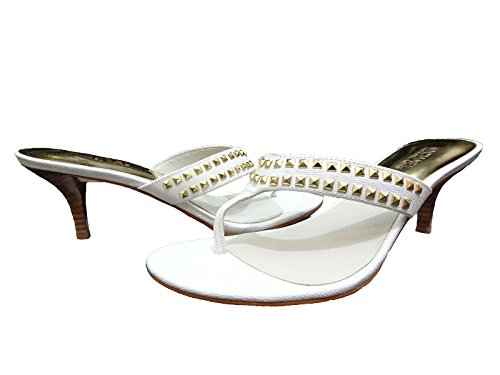 Michael Kors Studded Sandals - Michael Kors Women's Alexi Studded Leather Thong Sandals, White, Size 9.5