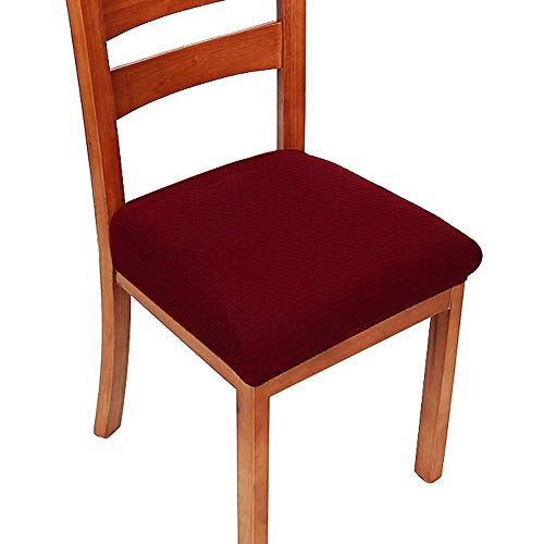 Homaxy Premium Jacquard Dinning Chair Seat Padded Covers, Spandex Stretch Dining Room Chair Seat Cushion Cover, Durable Protectors – Set of 4, Burgundy Slipcover