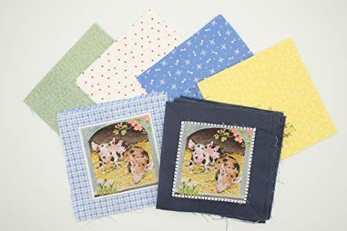 Baby Farm Animals Fabric Charm Pack - Charm Pack - Charm Packs for Quilting - Fabric Charm Packs - Precut Fabric - Quilt Fabric - 100% Quilting Cotton - Quilting Fabrics - Quilt Kit (PPPCF409)