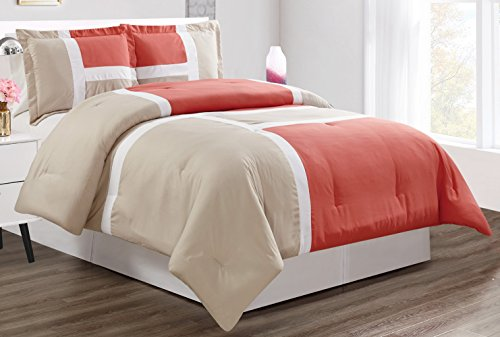 King Panel Set (3 piece Coral / Grey / WHITE Goose Down Alternative Color Panel Oversize Comforter Set, CAL KING size Microfiber bedding, Includes 1 Oversize Comforter and 2 Shams)