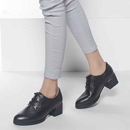 KHSKX-La Marea Con Gruesas Correas De Encaje Hasta Zapatos De Cuero Zapatos De Puntas Cruz black