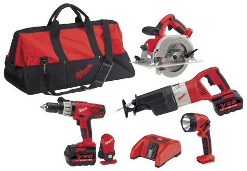 Milwaukee 0928-29 28-Volt Lithium-Ion Cordless 4-Tool Combo (28v Kit)