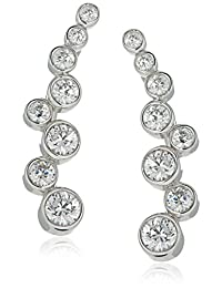 Platinum-Plated Sterling Silver Swarovski Zirconia Bezel Set Climber Earrings