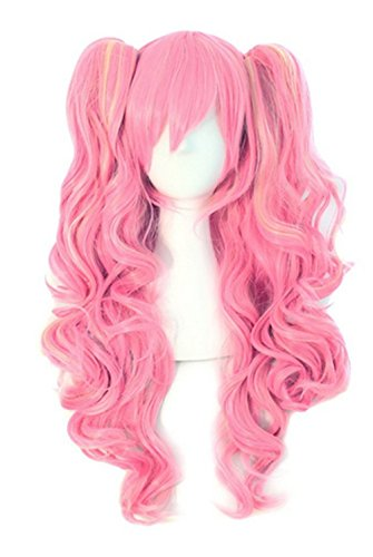 Anime Lolita Curly Multi-color Clip on Ponytails Cosplay Costume Wig (pink-yellow)