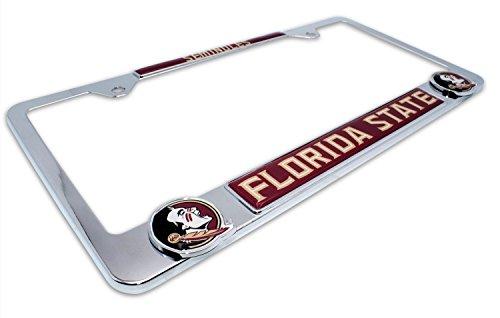 - AMG Premium NCAA FSU Seminoles Mascot License Plate Frame w/Dual 3D Logos (Florida State)