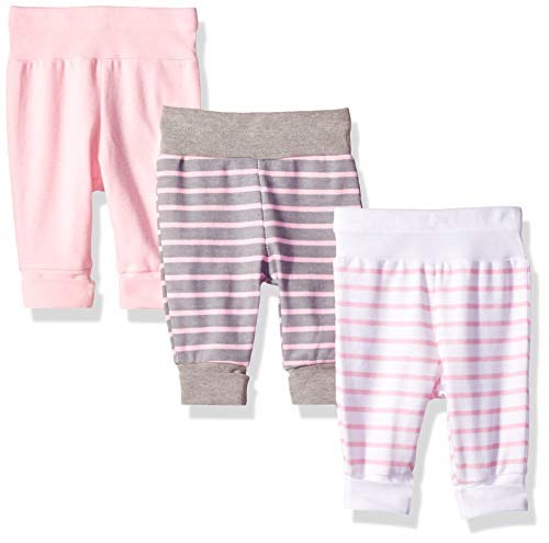 Hanes Ultimate Baby Flexy 3 Pack Adjustable Fit Knit Jogger Pants, Steel/Pink Stripe, 0-6 Months ()