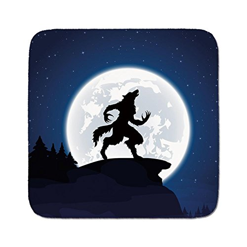 Cozy Seat Protector Pads Cushion Area Rug,Wolf,Full Moon Night Sky Growling Werewolf Mythical Creature in Woods Halloween,Dark Blue Black White,Easy to Use on Any Surface -