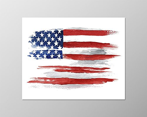 American flag poster (8x10) #A092. American flag painting. American flag picture. USA flag art print.Watercolor. Wall decor. American art.