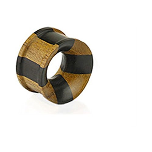 MsPiercing Pair Of Organic Jati & Areng Ebony Wood Concave Double Flared Tunnels, Gauge: 9/16