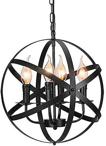 Industrial Pendant Light Vintage Spherical Pendant Lighting with 4 E12 Chandelier Lamp Base Farmhouse Black Metal Kitchen Dining Room Light Fixture, 1-Pack