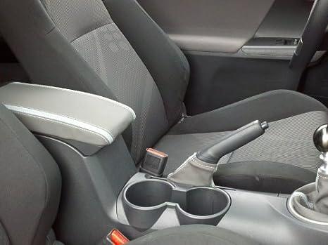 Black leather-Black thread RedlineGoods armrest cover compatible with Scion tC 2011-15