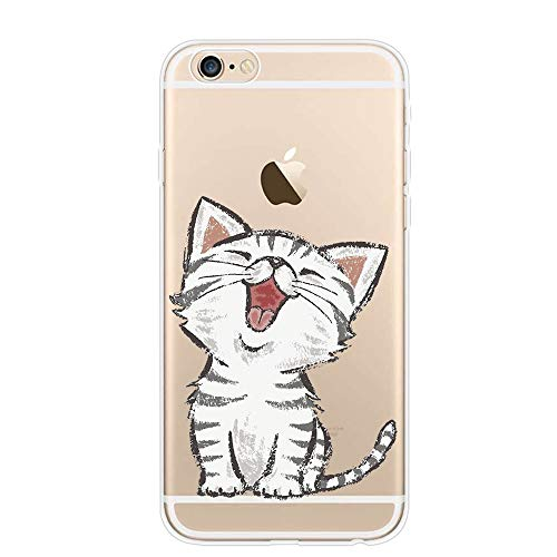 YHong iPhone 6S Funny Cat Case,Red-Billed Cat Case,Personality Cute Cartoon Pet Clear Design Printed Transparent TPU Protective Phone Back Cover for iPhone 6 (Cat)